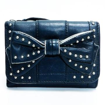 ANNA SUIアナスイ 三つ折り財布 レザー 黒 リボン 正規品