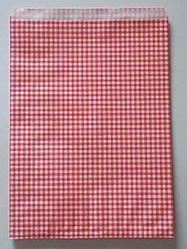 B5が余裕で入る平袋★チェック赤20枚☆R20サイズ