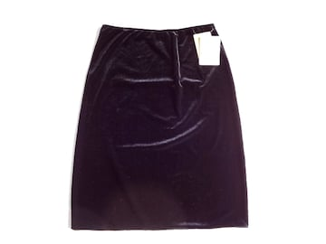 新品 USA輸入 Lapis ベロア 膝丈 スカート 黒 ベルベット  L