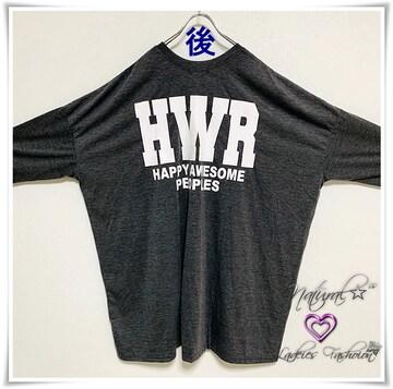 新作★大きいサイズ〜6L STARRING&HWRロゴBigTシャツワンピ/バクプリ*灰