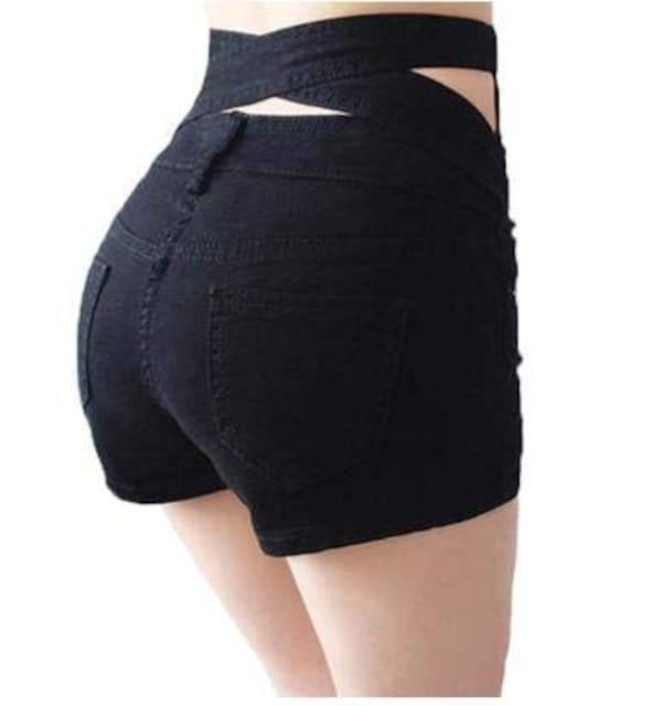 ハイウエスト ストレッチ デニムショートパンツ(2XL寸・黒) < 女性ファッションの