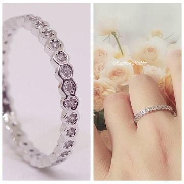 指輪 18K RGP プラチナ 小粒 エタニティ リング yu1095e