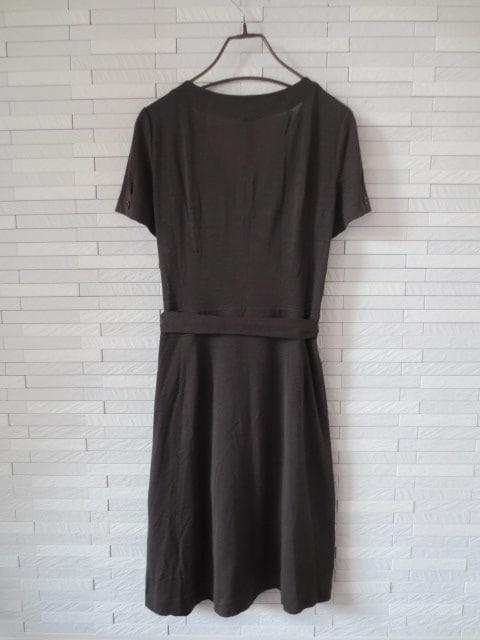 即決/Mizurina/半袖カシュクールベルトフレアワンピース/茶/11 < 女性ファッションの