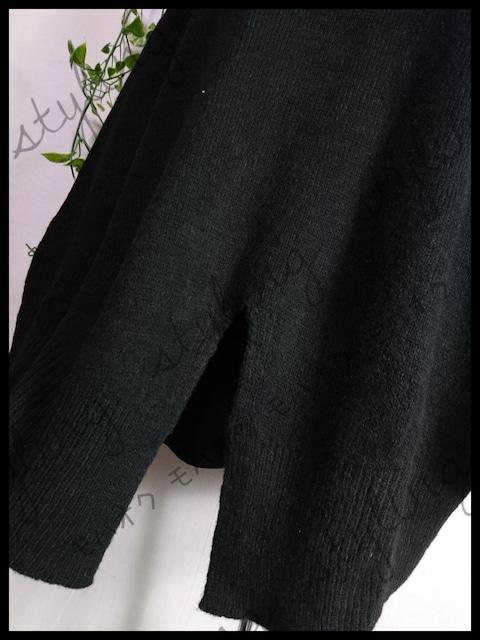 新品!大きいサイズ3L♪裾スリット入りゆったりニット☆ブラック