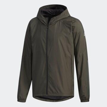 O緑)アディダス★ウィンドブレーカージャケット FYB84 フード付暖か裏地防風