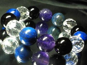 潜在能力を引出すラピスラズリ§アメジスト§オニキス64面カット水晶数珠