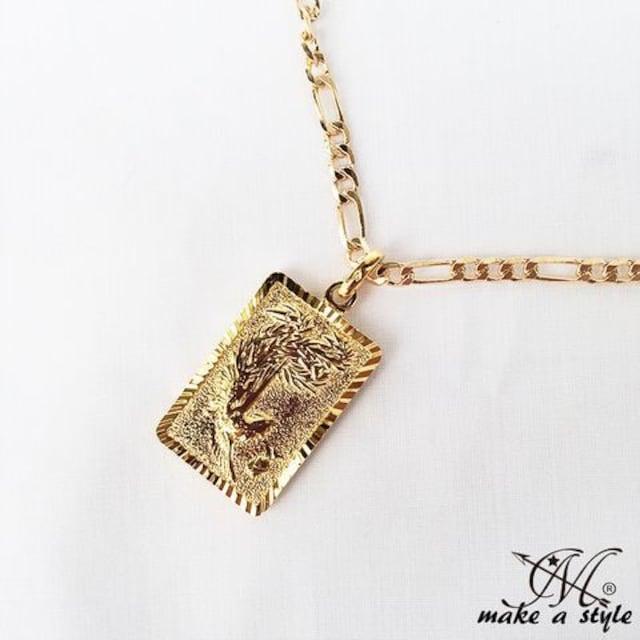 ブッダ 仏教 フィガロ チェーン 金ゴールド GOLD ネックレス 586 < 男性アクセサリー/時計の