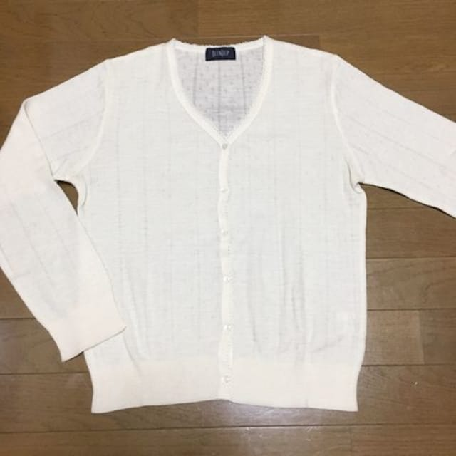 【美品】ウール混 V首長袖カーディガン/BLENDUP/11号/ホワイト  < 女性ファッションの