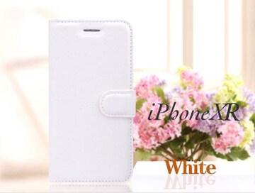 iPhoneXR 手帳型ケース レザー フィルム カード入れ ホワイト