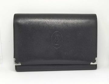 正規カルティエカボション財布がま口2つ折財布レザーカーフ