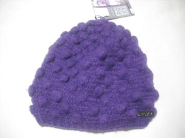 wb633 ROXY ロキシー ウール ニット帽 ビーニー 紫