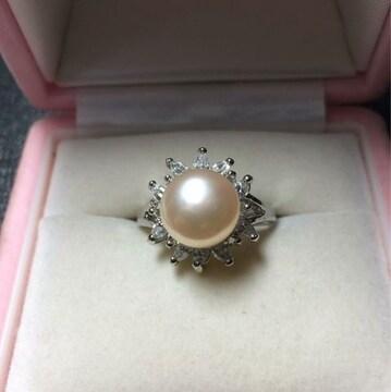 送料無料!新品 pt プラチナ 本物 真珠 リング 指輪 17号