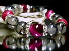ピンクタイガーアイ§黒龍紋12ミリ銀ロンデル数珠