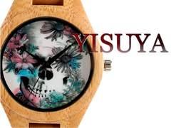 【新品・未使用】髑髏ドクロアート【竹製】大型 腕時計