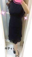 ブラックラメBackリボン付きドレス 13号
