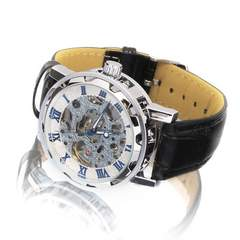 映えるスケルトンデザイン♪クラシックメンズ腕時計★青×白