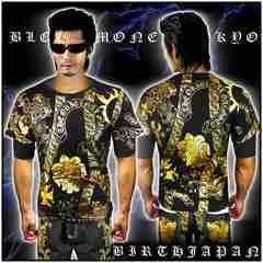 送料込ヤクザオラオラ系ブランド半袖Tシャツ/悪羅悪羅系服/クロス/13009黒1-XL