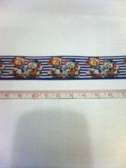 紺色22mm巾 ダッフィー&ジェラトーニ柄リボン1M