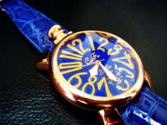正規club faceブルーベルト腕時計◆GAGAガガミラノtype◆