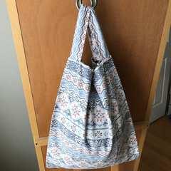 裏地付レジ袋型エコバッグ<ネイティブ柄>収納袋付 ハンドメイド
