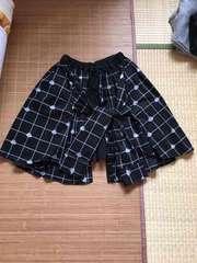 mintneko・シャツレイヤード風スカート。ブラックチェック柄