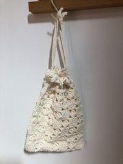♪手編み♪ ニットの巾着  オフホワイト