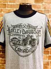 表記L/新品!ハーレーダビッドソン両面プリントTシャツ.灰色.バイクバイカーロック/9