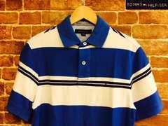 表記S!トミーヒルフィガー 青×白 ボーダー 半袖 ポロシャツ USA古着 サーファー