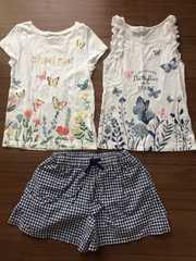H&MタンクトップTシャツ☆UNIQLOチェック柄パンツ