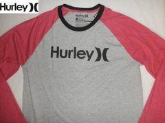 USA製 サーフ系【Hurley】ソフト素材 ラグランロンT US XL 灰赤