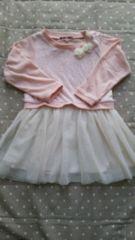 ワンピース長袖 花柄 100�p(ピンク×チュールスカート)