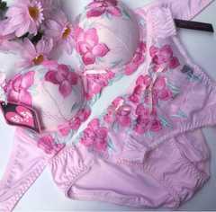 巨乳☆E70M 刺繍ピンク ブラ&パンティ&Tバック 大きいサイズ