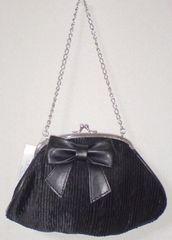 新品タグ付*ブラックリボン&ガマ口チェーンサテンハンドバッグ黒