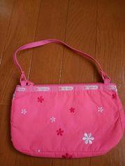 ☆美品☆レスポートサック☆お花刺繍サーモンピンク手提げバッグ
