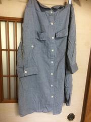 グレー七分袖チュニックL*クリックポスト185円