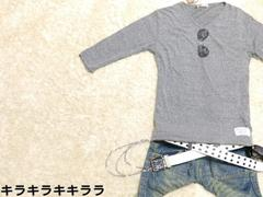 カジュアルサングラスプリント★Vネック*7分袖ロンTeeグレーL
