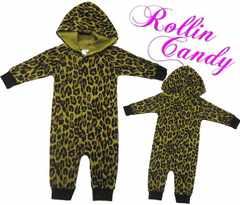 F81)Baby70cmレオパード柄カバーオール着ぐるみ出産祝い仮装豹柄アニマルセレブ