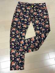 新品 薔薇 バラ スキニー デニム パンツ 大きいサイズ 3L4L