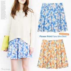ウエストゴム花柄フレアミニスカート/ブルー