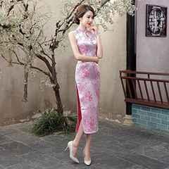今回限り3890円★本格的 光沢チャイナドレス 薄ピンクXL