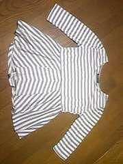 長袖/長袖Tシャツ/七分丈/ボーダー/M/フリル付/親子兼用