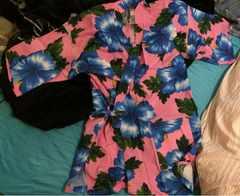 可愛いハイビスカス柄の甚平◆フリーサイズ◆ピンク