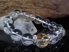 六字真言水晶14ミリ水晶12ミリ銀ロンデル数珠