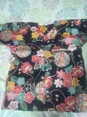 ☆新柄黒麻葉×牡丹金彩花束大鞠和柄ダボシャツ130