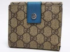 GUCCI グッチ 二つ折り財布 GG柄 茶×青緑系 115052
