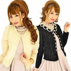 ベージュ 花フラワー衿パールデコレーションノーカラーツイード風ライトジャケット
