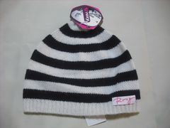 wb194 ROXY ロキシー ボーダー ウールニット帽 白黒