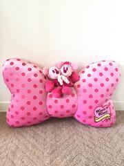 ディズニー ピンクドットリボン型 ミッキー&ミニー ぬいぐるみ付きクッション