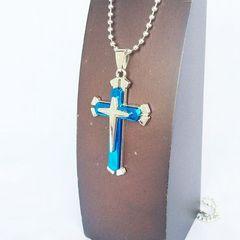 クロス 十字架 ネックレス ボール 銀 シルバー 青 ブルー 1147