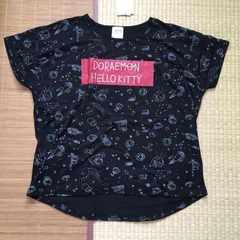 定形外込。ハローキティ&ドラえもんイラスト柄変形Tシャツ黒L